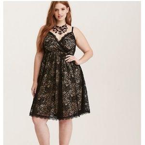 bf68c7e219d1 Torrid Dresses   Black Nude Lace Surplice Skater Dress   Poshmark
